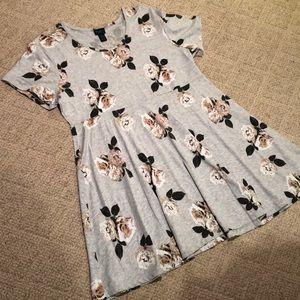 Floral stretchy babydoll dress w rose print